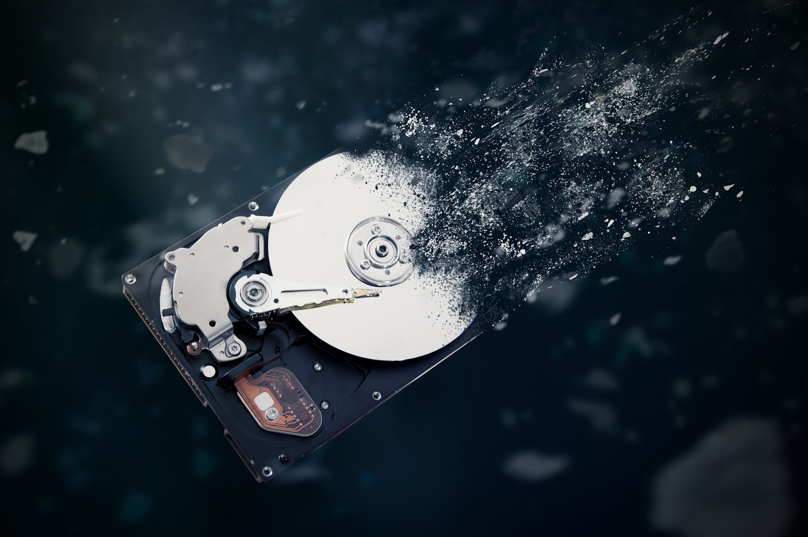 hard drive being destroyed